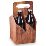 Timber Biertragekarton, 4 x 0,33l / 0,5 l Flaschen 140 x 140 x 280 mm, VE 50 Stk.