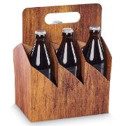 Timber Biertragekarton, 6 x 0,33l / 0,5 l Flaschen 210 x 140 x 280 mm, VE 50 Stk.