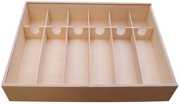 holzkiste 6er wein sekt 495 x 360 x 90 mm mit schiebedeckel und einsatz f r 6 flaschen europack. Black Bedroom Furniture Sets. Home Design Ideas